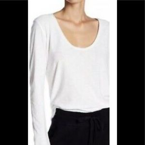 James Perse white long sleeve v neck tee sz 2